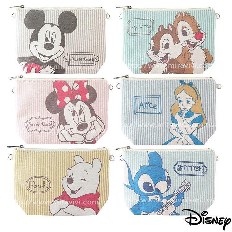 ☆韓元素╭☆ Disney 迪士尼  文青 淡彩 條紋 棉麻 多 化妝包 萬用包 斜背包 水餃包