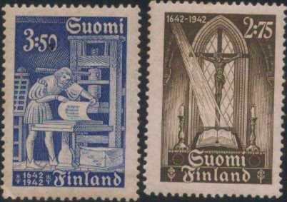 [亞瑟小舖]芬蘭第一本聖經印製300年 新票2全 上品!!!(1942年)