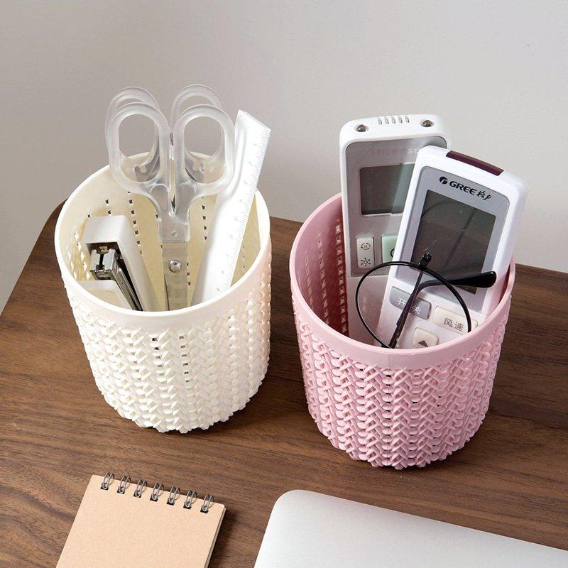 居家居家家 鏤空多 小筆筒塑料辦公收納筒 學生簡約桌面收納盒