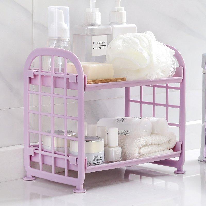 收納 衛生間雙層置物架浴室化妝品收納架桌面塑料儲物架廚房臺面整理架