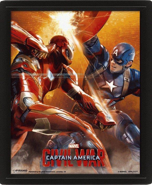 龍   3D海報:EPPL71177(3D立體海報含框架 美國隊長3 英雄內戰)