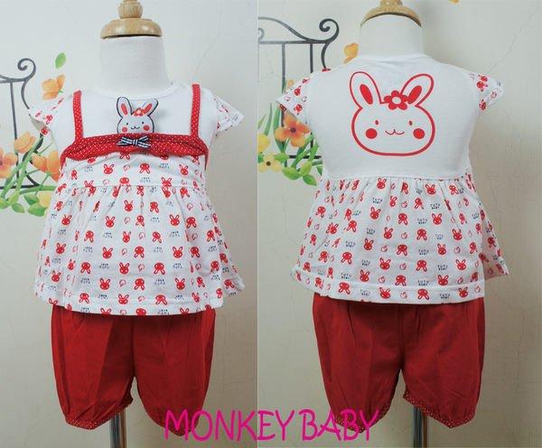 滿699免運【MONKEY BABY 】紅色吊帶兔子圖案幼童套裝(1307)