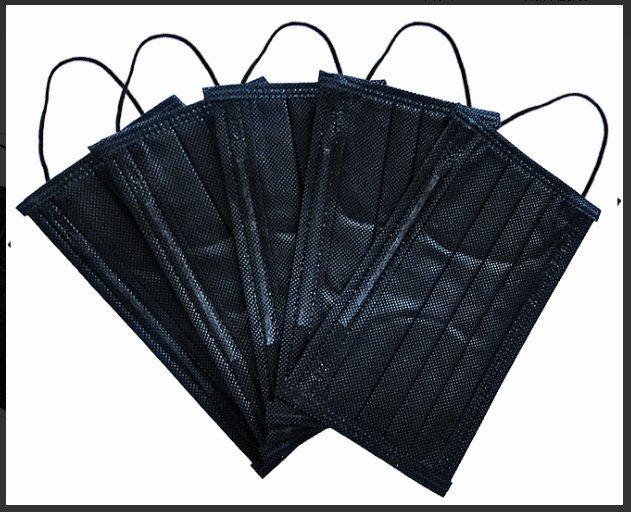 ~罩公館~ 製  成人平面四層鼻樑壓條口罩 拋棄式 不織布 口罩- 黑-z86