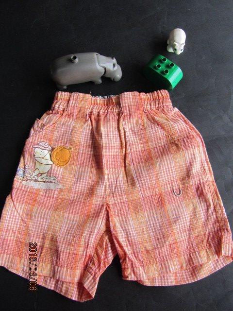 紫庭雜貨** 奇哥 小熊維尼 pooh winnie  橘色格子維尼熊短褲* 尺寸 2A 純棉** *