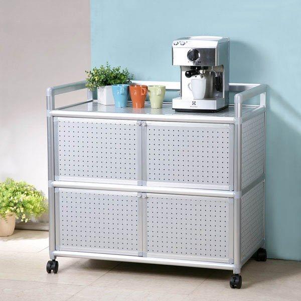 鋁合金3尺四門收納櫃 餐櫃 電器架 碗盤架 層架 櫥櫃 廚房【Yostyle】SH-1519-117302