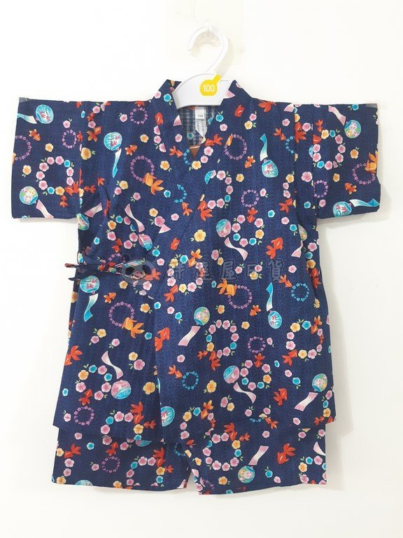 ✪胖達屋日貨✪褲款 110cm 海軍藍底 金魚 風鈴 日本 女 寶寶 兒童 和服 浴衣 甚平 抓周 收涎 攝影