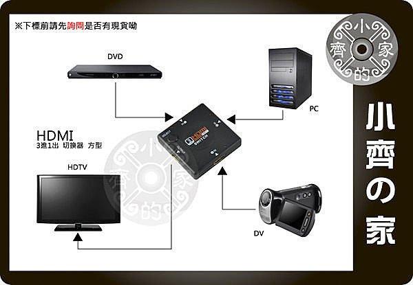 小齊的家  HDMI 切換器 轉換器 SWITCH 免電源 3進1出 1.3b 小型 支援1080p 方型
