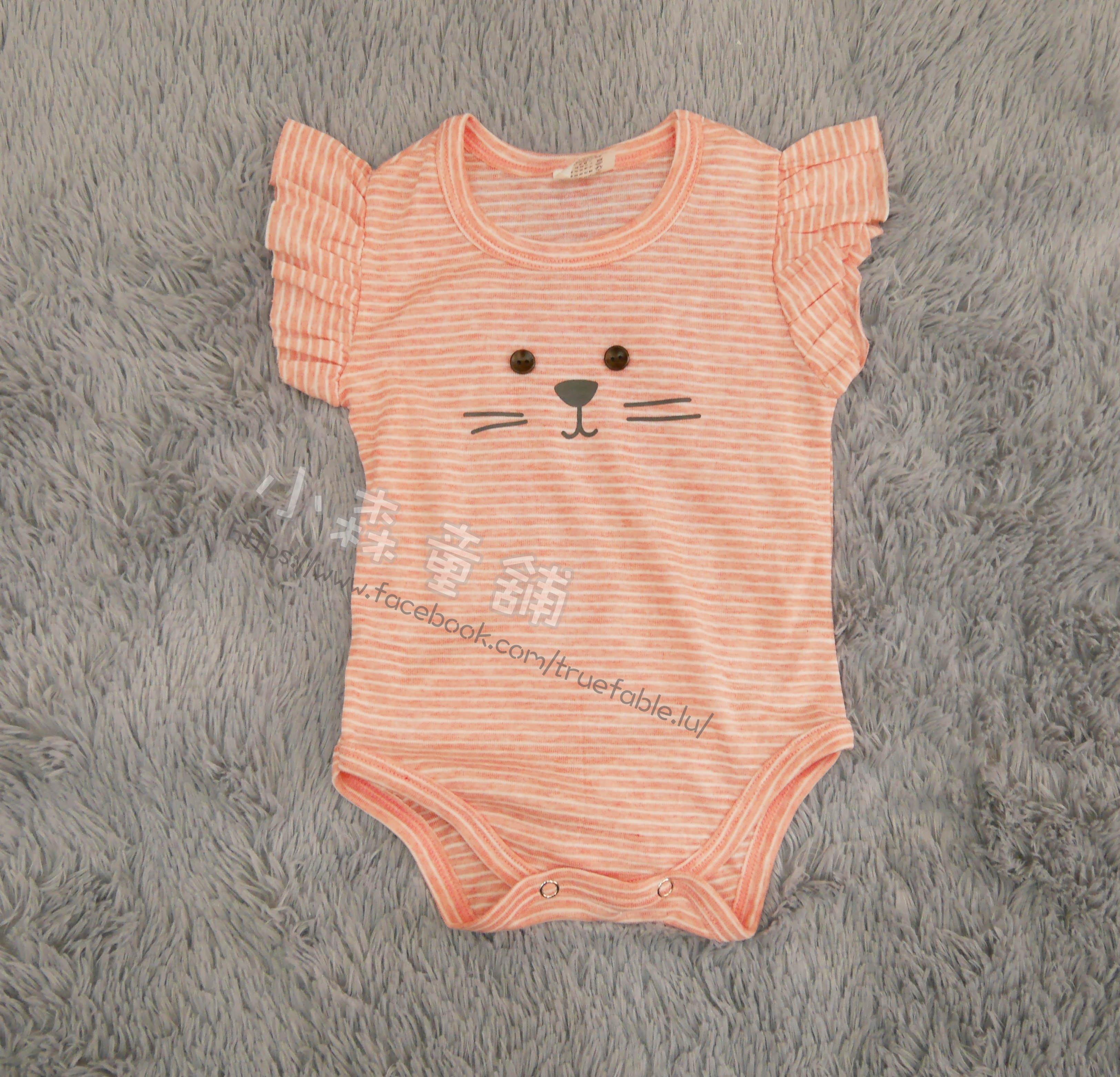 小森童舖 春夏 日系小貓 女寶寶 荷葉袖口 條紋 薄款 橘紅色系短袖連身衣 包屁衣 1.3.5號 製