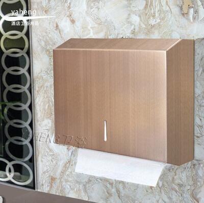 {興達1879}壁掛式不銹鋼 紙巾盒 抽紙盒 衛生間 酒店 擦手紙盒架箱{拉絲紅古銅}TCQ