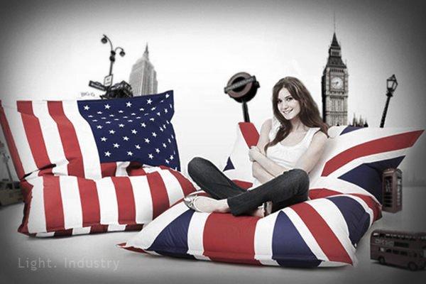 【 輕工業 】復古英國美國國旗懶人沙發-瑞典澳洲單人沙發椅靠墊懶骨頭抱枕工業風美式英式北歐風服飾店餐廳客廳臥房