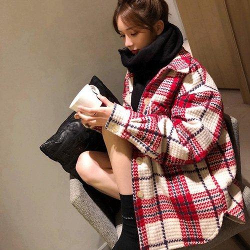 襯衫式短大衣S~2XL 厚款美式風格釦式格紋毛呢外套 艾爾莎【TAE8016】