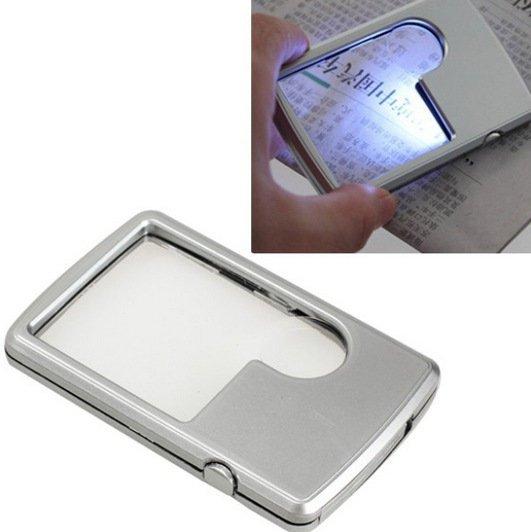 【方形LED燈放大鏡】 卡片式放大鏡 壓克力鏡片 子母鏡 名片式放大鏡 LED燈放大鏡 隨身放大鏡 手持放大鏡