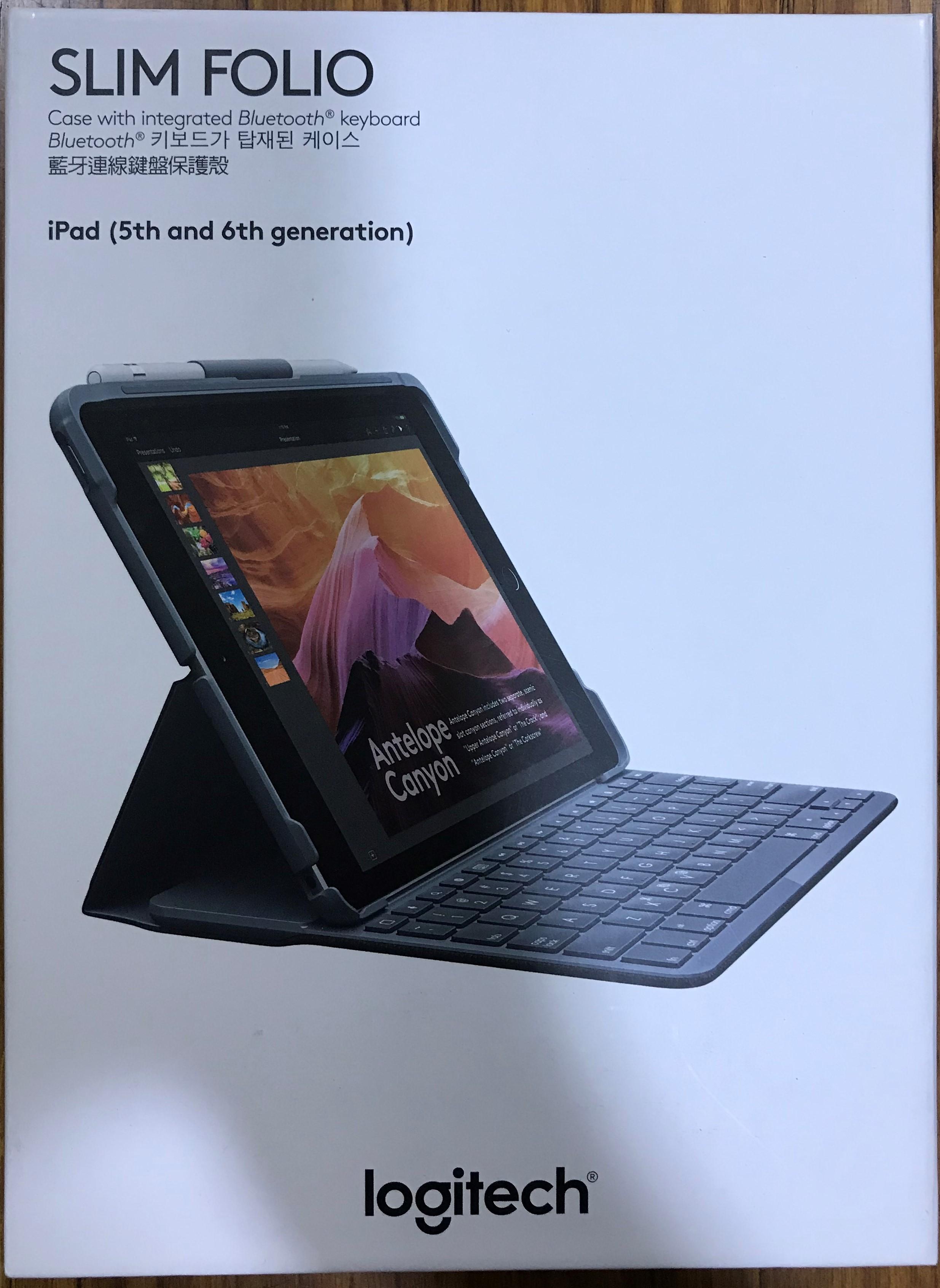 點子電腦☆北投@使用一週 Logitech 羅技 SLIM FOLIO iPad 5代6代 藍芽鍵盤 保護殼☆2550元