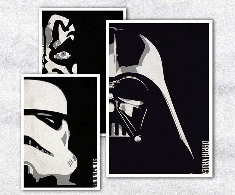 C - R - A - Z - Y - T - O - W - N 星際大戰 黑武士白武士電影海報掛畫訂製英雄系列掛畫