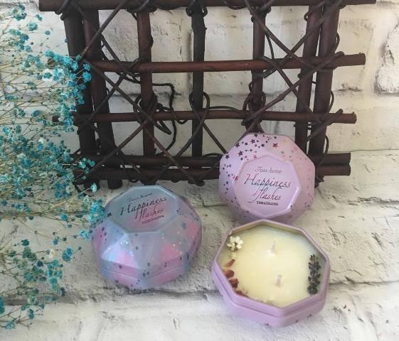 JaSmine Flora~乾燥花 精油大豆蠟燭(星星鐵盒) 護手 香氛~ 乾燥花 精油 情人節 婚禮小物 生日