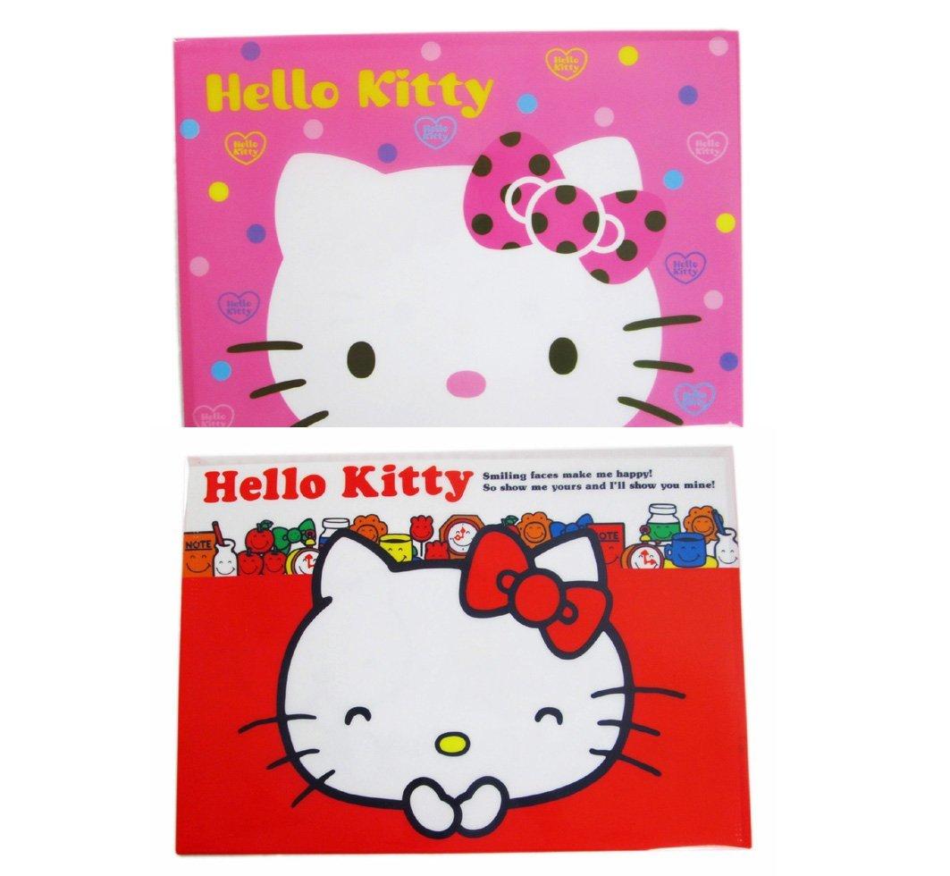 【卡漫迷】 Hello Kitty 資料袋 兩入組 魔鬼氈 ㊣版 韓國限定版 凱蒂貓 資料夾 文件袋 檔案夾 三麗鷗