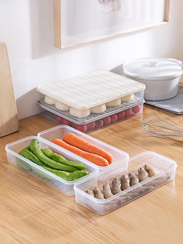 廚房寶居家家冰箱透明收納盒廚房塑料儲物盒家用帶蓋密封食品水果保鮮盒