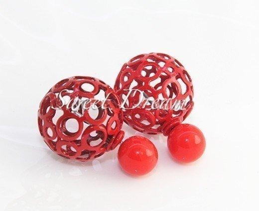 ☆Sweet Dream☆時尚氣質流行款前色珠後鏤空球2用耳環大力丸 76元(紅) 正韓直送 韓國代購 滿399免運