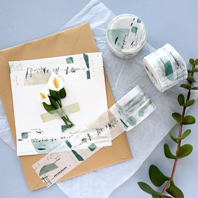 學習用品 手賬膠帶芯陌 余白風格 鹽系涂鴉手帳素材拼貼復古百搭手賬整卷 和紙膠帶