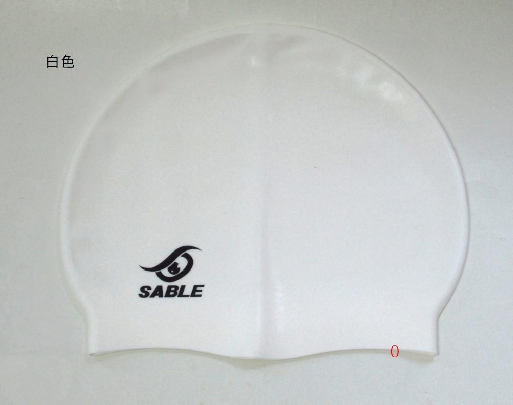 SCS(C9白色) 【黑貂泳帽SABLE】 單色矽膠泳帽 每頂