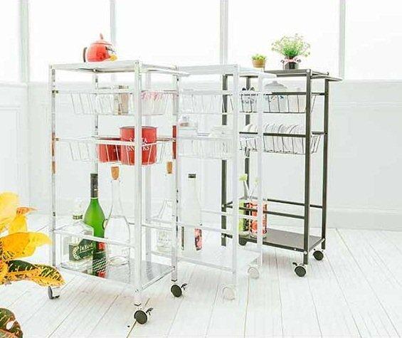 鐵板隙縫推車架 細縫架 廚房推車 餐車 收納架(三色可選)