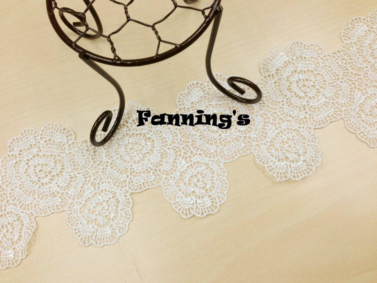 【芬妮卡Fanning服飾材料工坊】大小雙層玫瑰蕾絲 7cm 1碼入