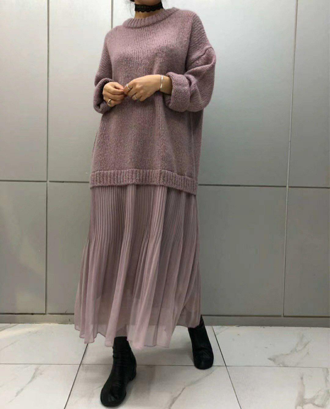 全新正韓國製毛衣拼接雪紡洋裝香芋紫