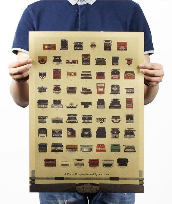 【貼貼屋】打字機進化史 牛皮紙 海報 壁貼 電影海報 懷舊復古 304