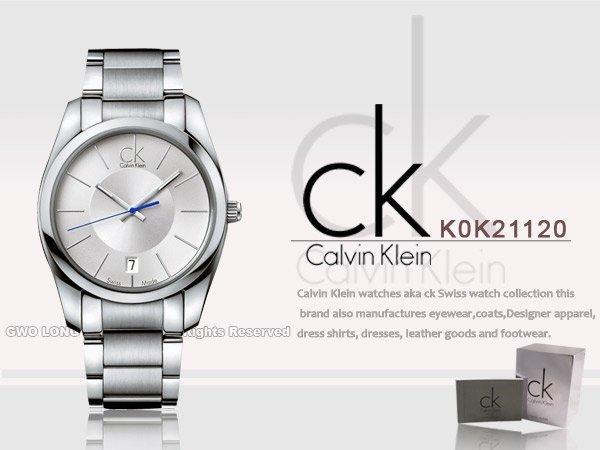 CASIO手錶專賣店 國隆 CK手錶專賣 Calvin Klein K0K21120不鏽鋼藍秒針石英_開發票