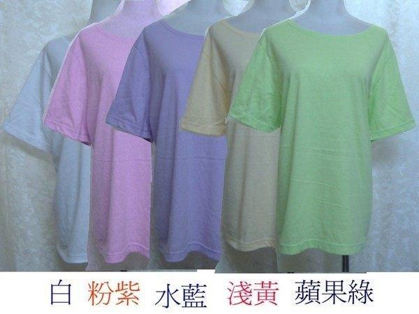 ~麗麗ㄉ大碼舖~大尺寸14 16-18 20W(46-48吋)水藍 粉紅色圓領短袖彈性上衣~加大碼~