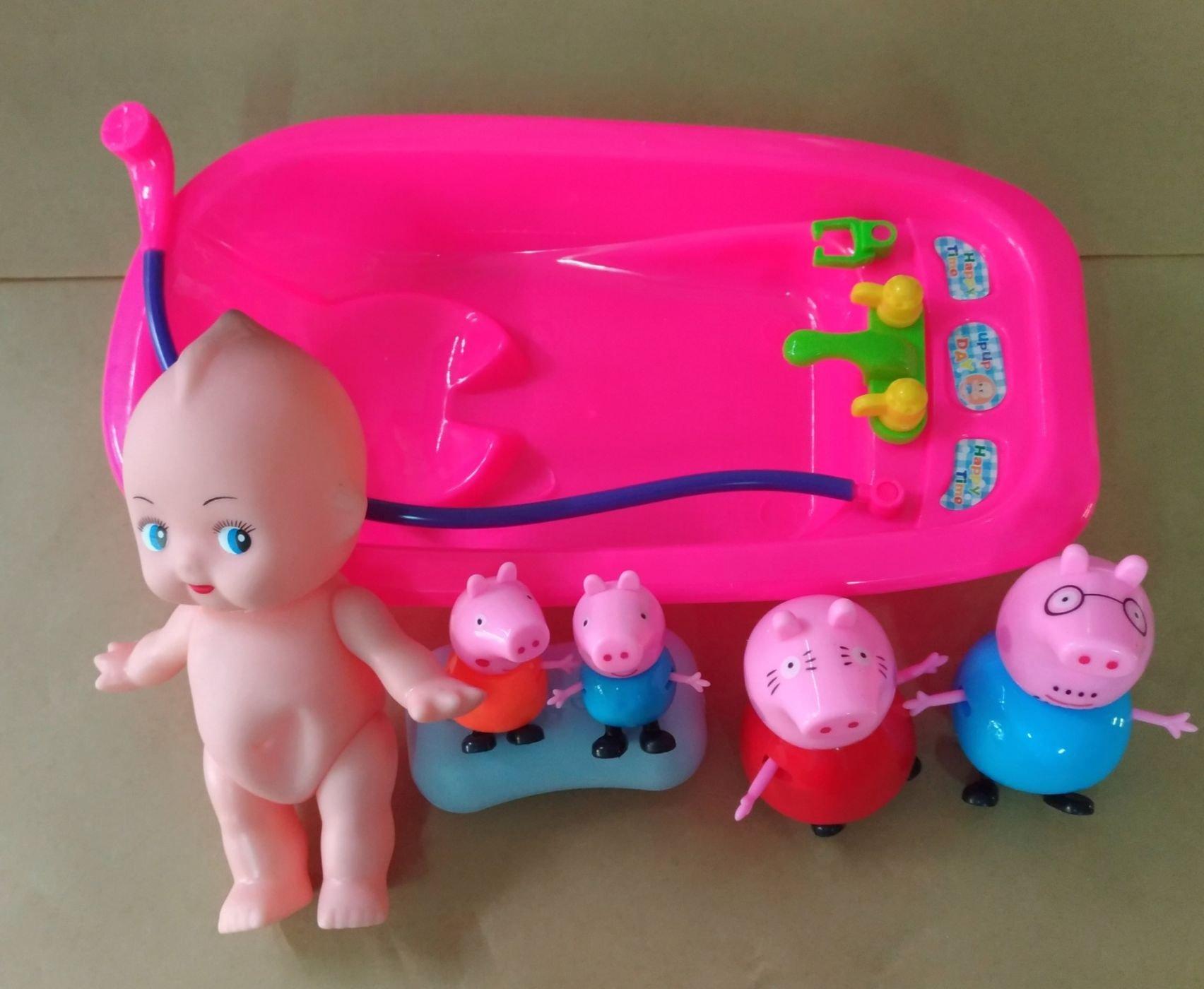 娃娃洗澡玩具一家四口 洗澡玩具 七件組  顏色 出貨