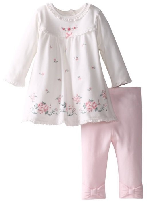 Little Me 簡單大方玫瑰長袖洋裝 粉色蝴蝶結褲2件組 9m(售:690含運)