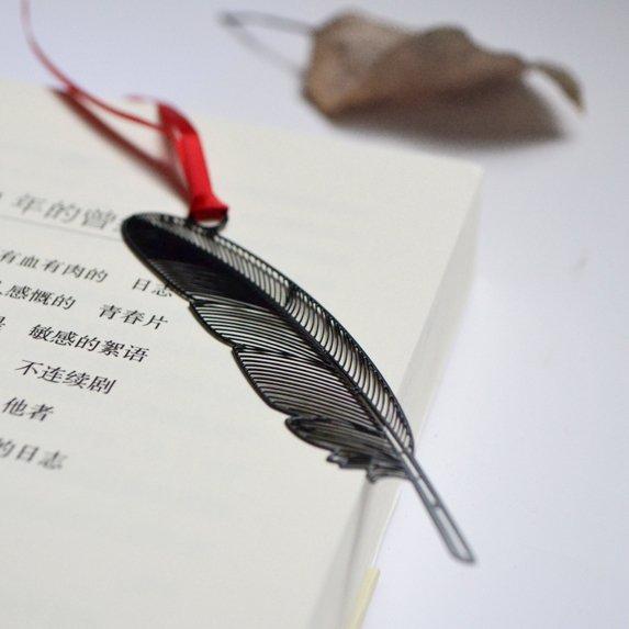 中國風書籤 書夾【黑色羽毛】復古不銹鋼烤漆金屬書簽 商務畢業 文具