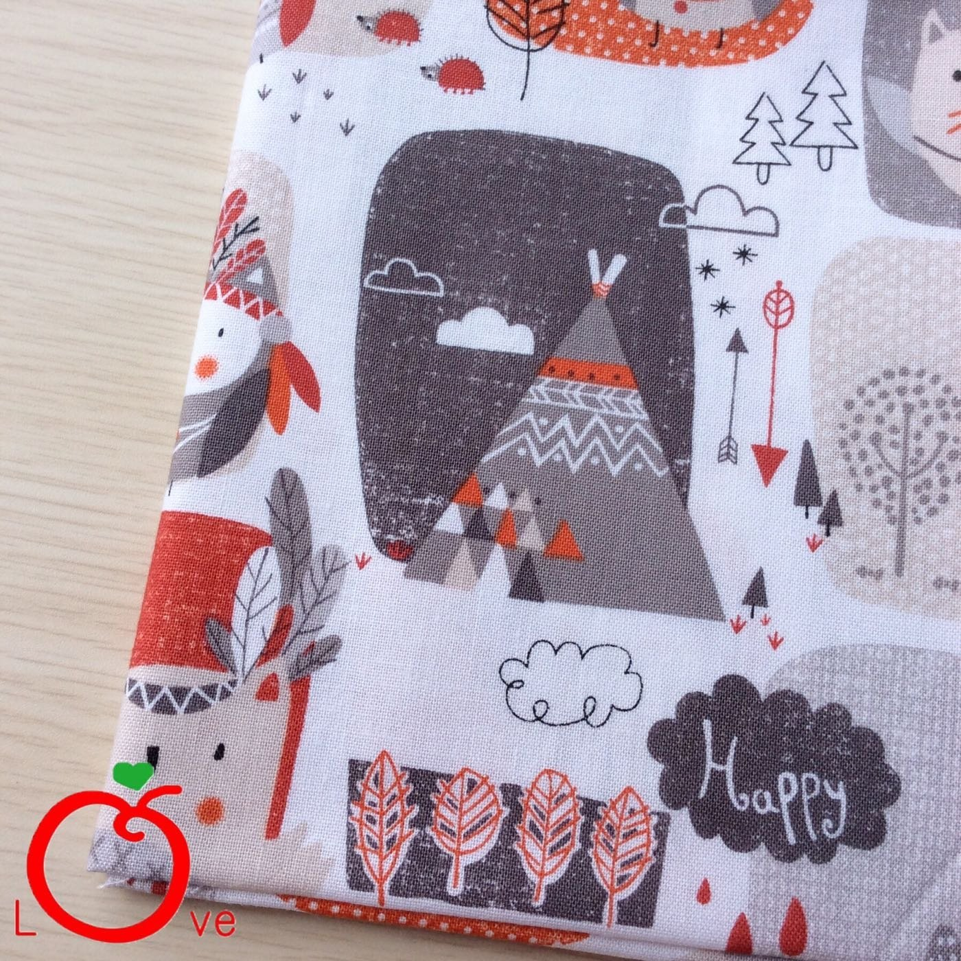 *樂芙領巾 手作*橘紅印地安貓頭鷹款(韓國薄棉布) 嬰兒 兒童三角巾、口水巾、圍兜,可訂製大小及親子領巾