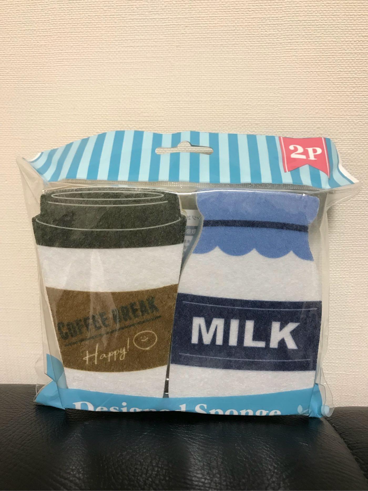 *姑姑熊*~ 帶回。居家 便利 。廚房用具。咖啡與牛奶罐圖案清潔海棉。