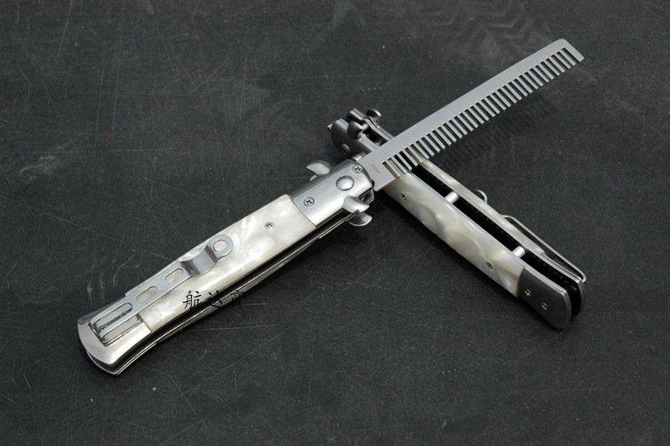 【彈簧梳】440不鏽鋼 摺疊梳 折疊梳 彈簧刀梳 耍帥道具 楊昇達 【L】