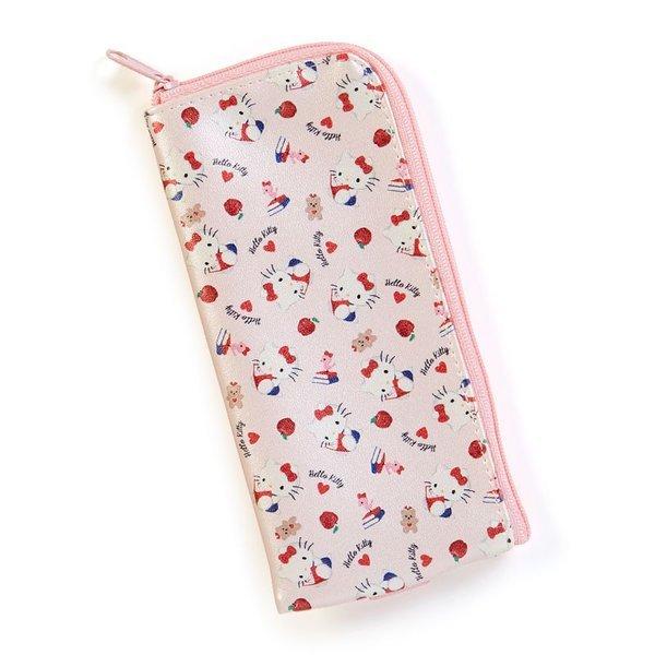 【唯愛 】18083100014 拉鍊筆袋附束帶-KT看書滿版ADG 凱蒂貓 kitty 筆袋 文具收納 小物收納