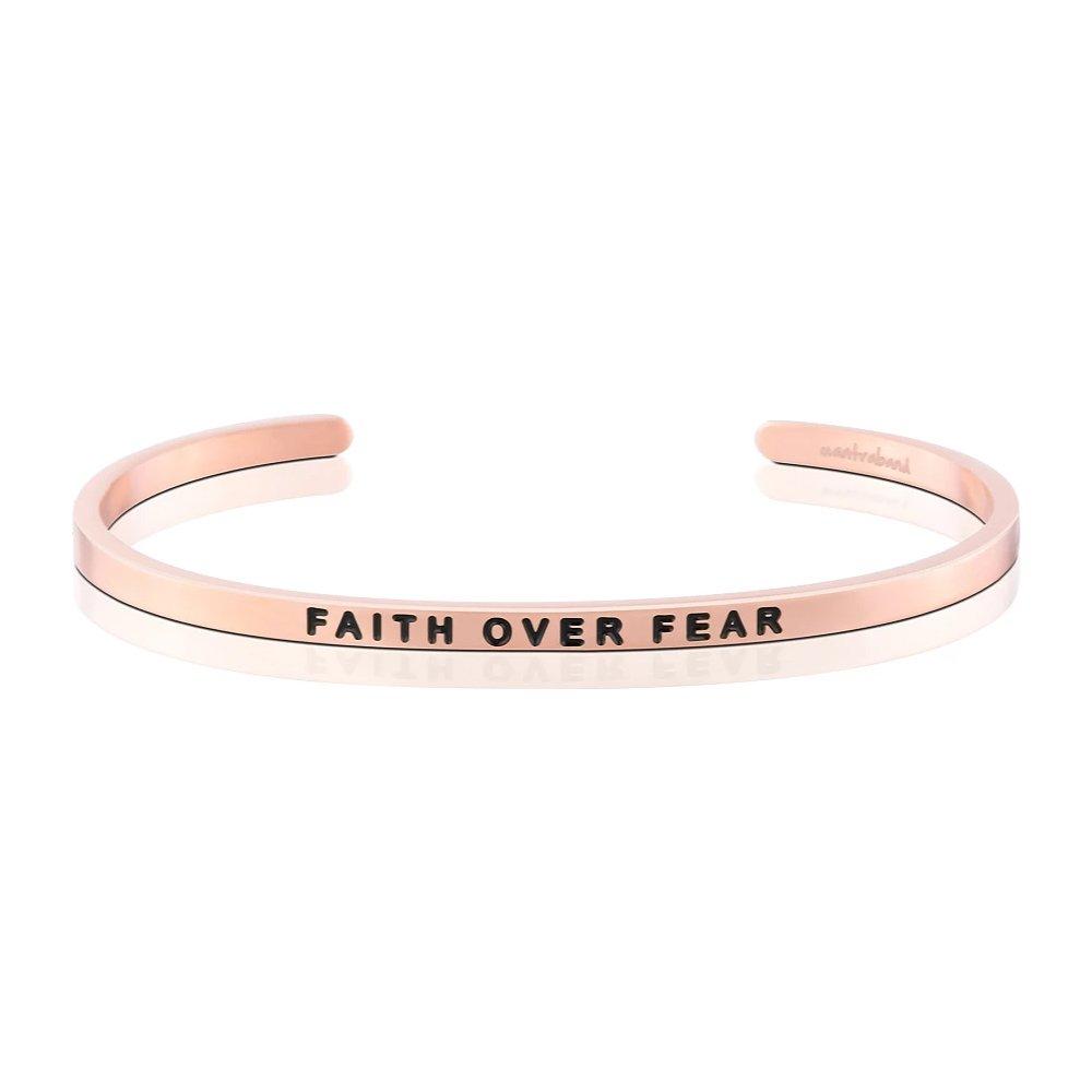 MANTRABAND 美國悄悄話手環 Faith Over Fear  信念戰勝恐懼 玫瑰金手環