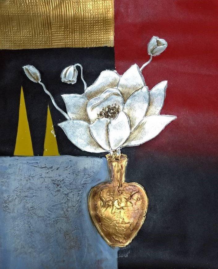 ◎『佳家畫廊』→中型手繪油畫-瓶花系列1【蓮花】藝術畫◎新居 新婚送禮 高雄油畫