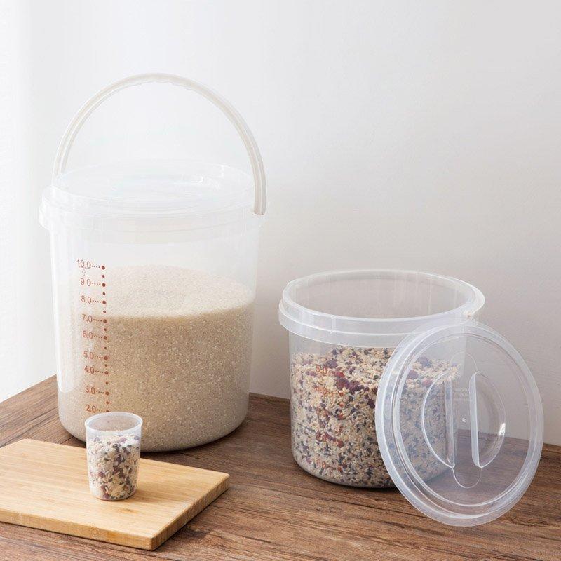 廚房用品 置物架 廚房工具 碗筷收納 冰箱收納居家家手提透明帶蓋米桶塑料防蟲儲米箱廚房防潮裝米面大米收納箱