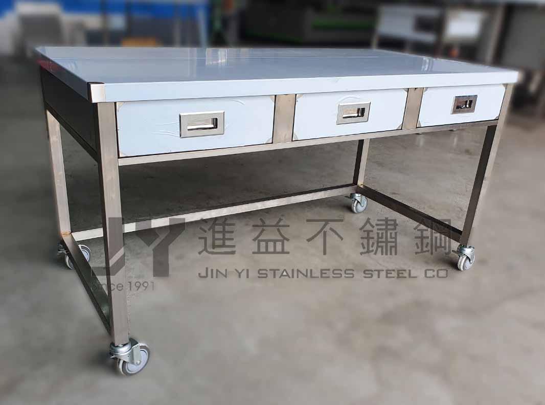 進益不鏽鋼】不鏽鋼桌 抽屜 流理台 調理台 切菜工作台桌子 置物台 工作桌 白鐵 廚房 無塵室 鑰匙 戶外工作桌