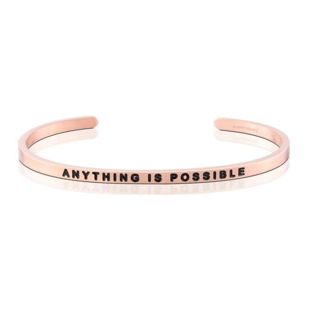 MANTRABAND 美國悄悄話手環 ANYTHING IS POSSIBLE成就不可能 玫瑰金手環