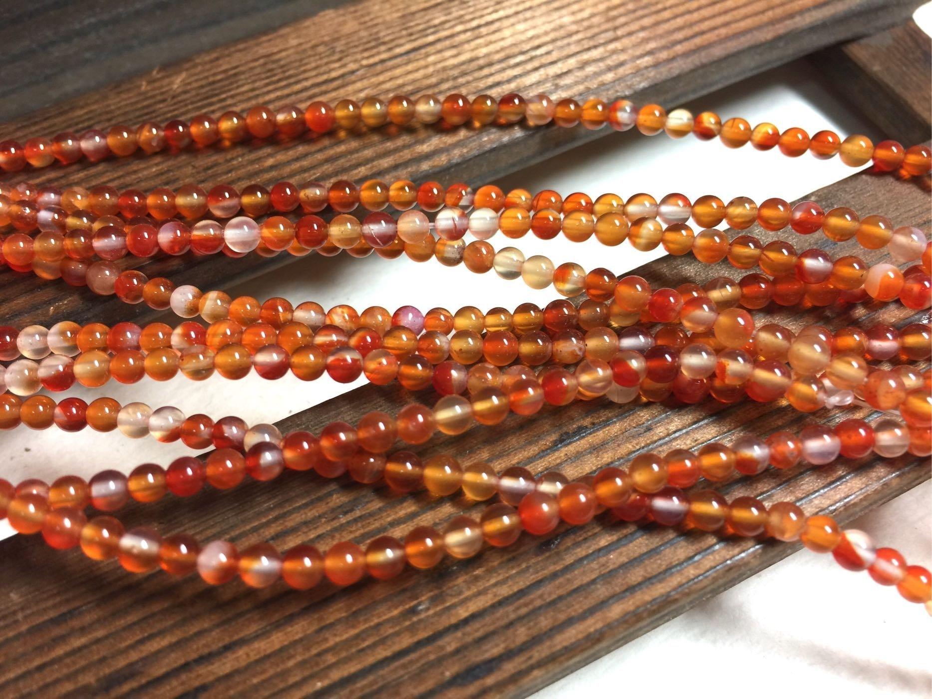晶御飾品  串珠材料DIY~天然瑪瑙漸層色橘紅3.5mm圓珠條珠串
