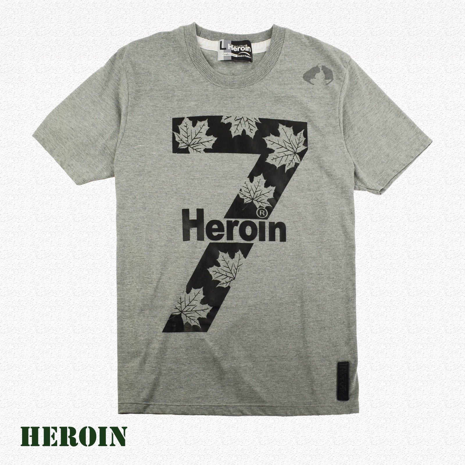 男棉T 街頭 Heroin海洛因品牌 大七系列 灰色 數字T恤-阿法.伊恩納斯 楓葉 加拿大 經典風格 潮牌 海邊 音樂