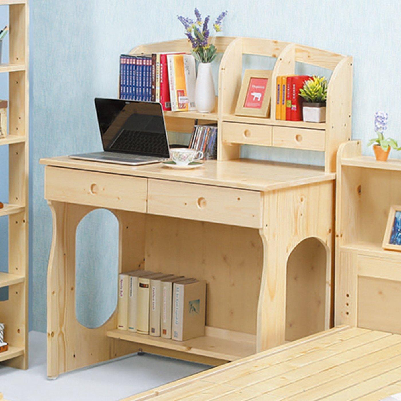 【優比傢俱生活館】21 樂樂購-松木實木3.1尺二抽書桌/電腦桌-全組 JL70-6