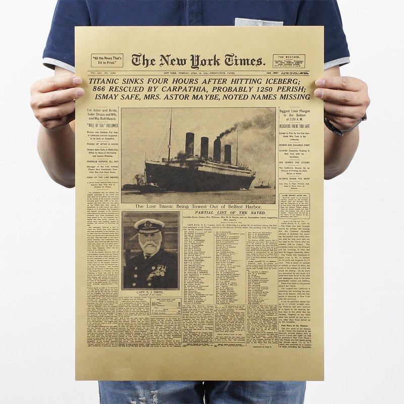 【貼貼屋】紐約時報 鐵達尼號 歷史時刻 牛皮紙 海報 壁貼 電影海報 懷舊復古 386