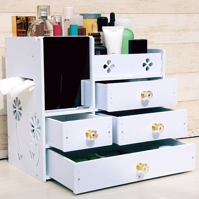 聚吉小屋 #天堂牧歌 塑料 大號桌面化妝品收納盒抽屜式帶鏡子化妝盒