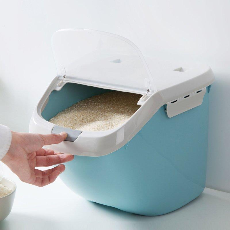 廚房寶居家家 塑料密封防蟲儲米箱30斤米缸 家用放面粉收納盒廚房裝米桶