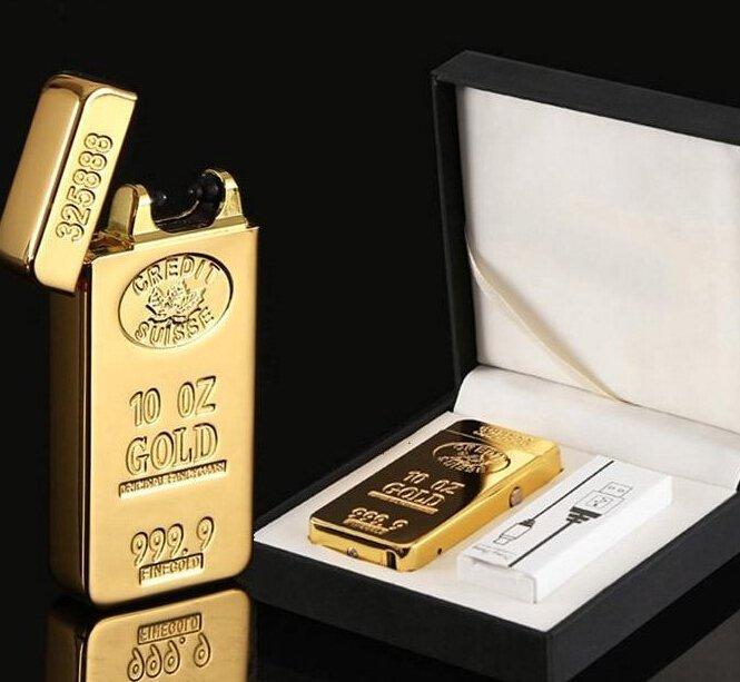靚殼小舖 電磁脈衝電弧 黃金 金條 金屬 USB 充電式 電子打火機 點煙器 防風 點菸器 免瓦斯 灌油 行動電源可充