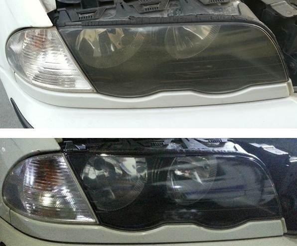 大燈快潔現場施工 BMW 寶馬 E46 318CI 318I 320CI 原廠車大燈泛黃霧化拋光修復翻新處理